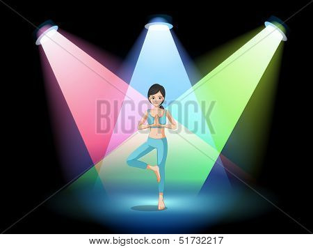 Illustration of a girl doing yoga in the middle of the stage