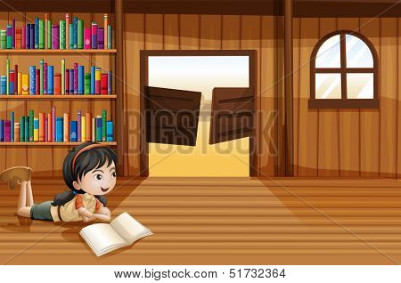 Illustration of a girl reading a book in the library with a swingdoor
