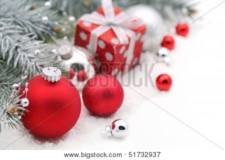 Christmas decoration with fir branch,Christmas ball and gift box