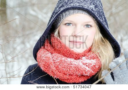 Young Blond Woman With Beanie And Scarf Winter Wood Portrait