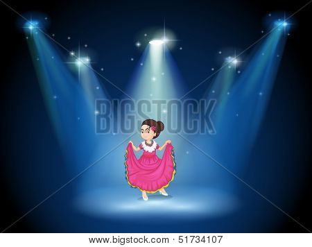 Illustration of a girl with a pink long dress standing in the middle of the stage