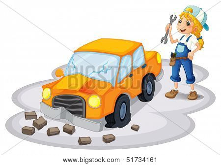 Illustration of a girl fixing a broken car on a white background