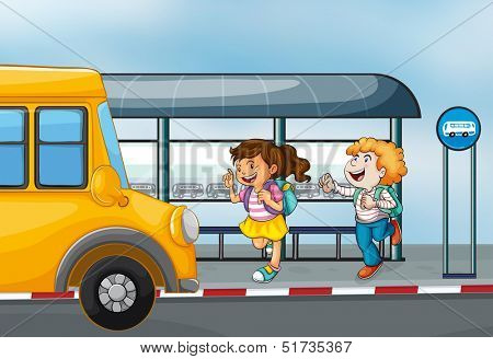 Illustration of the happy passengers at the bus station