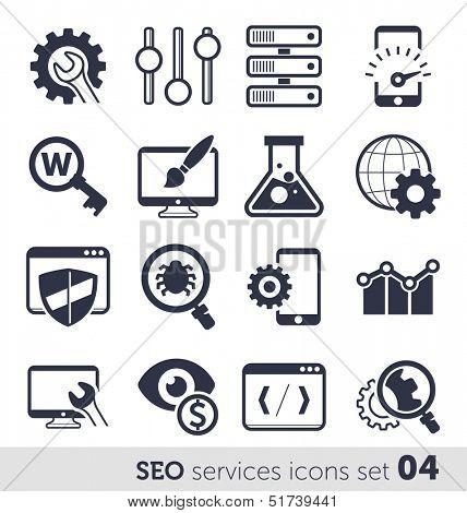 SEO services icons set 04 MONO