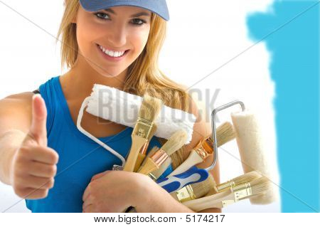 Girl And Painting Tools