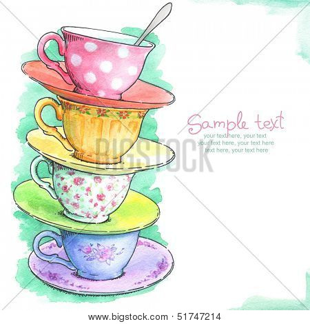 card with painted watercolor tea cups