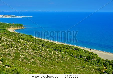 aerial view of Torn Beach and the coast of Hospitalet del Infant, Spain