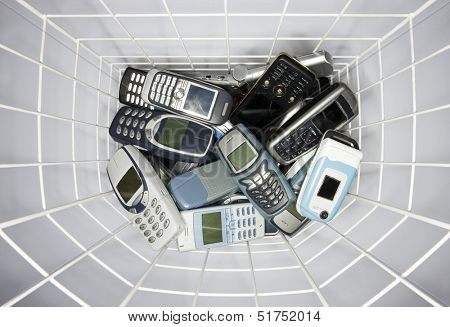 Cellphones in a paper basket
