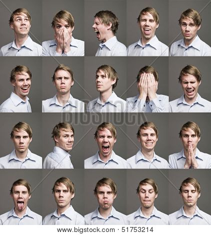 Twenty portraits of a man with different expressions