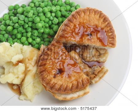 Chicken Pie, Mash And Peas