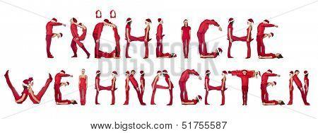 Elfs forming the phrase 'Fr?hliche Weihnachten' isolated on white