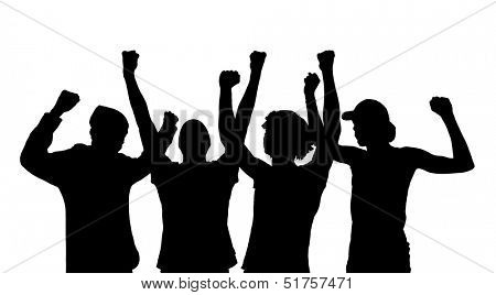 Silhouette of cheering people isolated on a white background