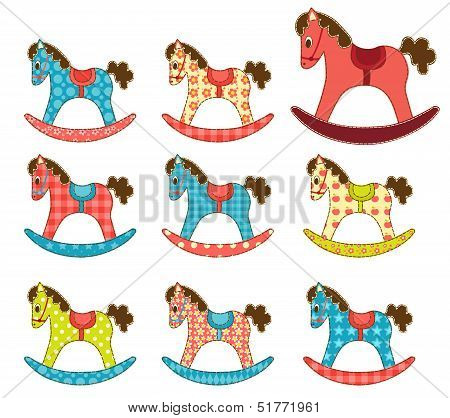 Set of patchwork horses. Template for your design. Isolated on white. Cartoon vector illustration. poster