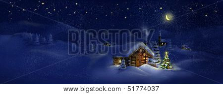 Christmas tree, lights in front of log cabin, scenic village panorama. Copy space, illustration. Suitable for postcard