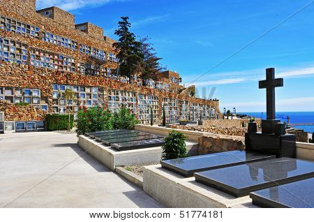 BARCELONA, SPAIN - SEPTEMBER 16: View of Montjuic Cemetery on September 16, 2013 in Barcelona, Spain. The cemetery contains over one million burials and cremation ashes in its 567,934 meters square