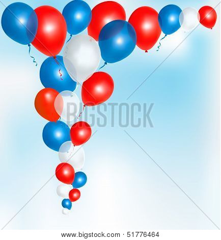 Red, Blue And White Balloons Frame Composition With Space For Your Text. Vector Illustration.