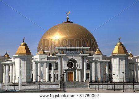 Mosque in Kipchak. Mausoleum in which the former president of Turkmenistan Niyazov is buried. Turkmenistan. poster