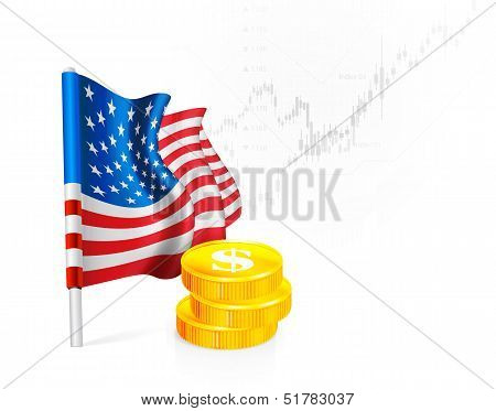 U.S. Flag with coins