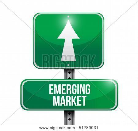Emerging Market Road Sign Illustration Design