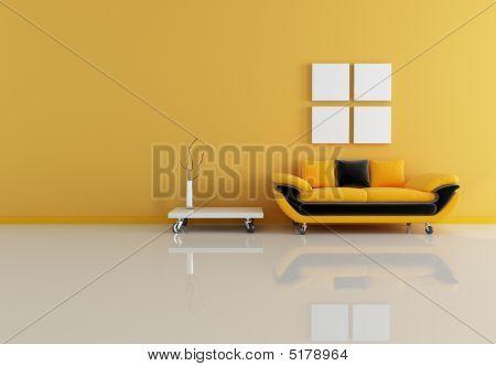 Black And Orange Living Room