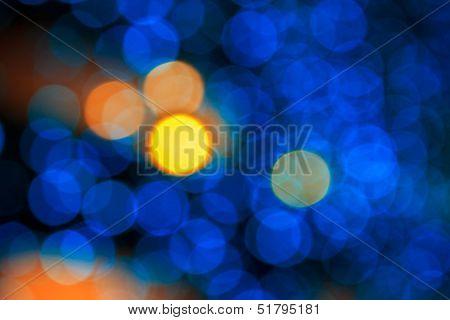 Yellow Bokeh Light On Blue Background