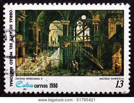 Postage Stamp Cuba 1980 Venetial Scene II Painting by Michele Marieschi