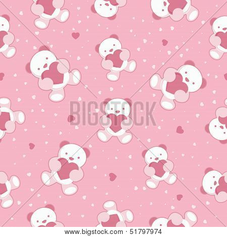 Seamless Pink Baby Background with teddy bear and hearts. Vector illustration.