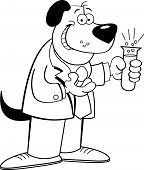 Black and white illustration of a dog holding a test tube. poster