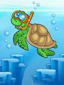 Sea turtle snorkel diver underwater - color illustration. poster
