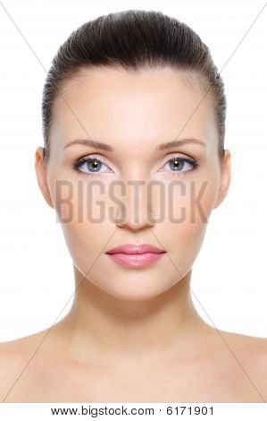 Close-up front view portrait of a beauty young female face over white background poster