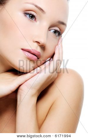 Cute Woman With Pure Clean Skin Of Her Face