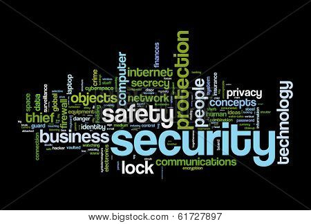 securety safety word cloud concept image