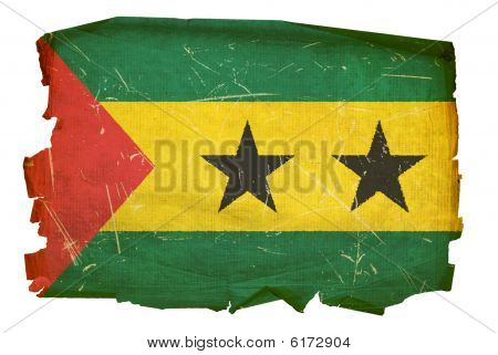 Sao Tome Flag Old, Isolated On White Background.