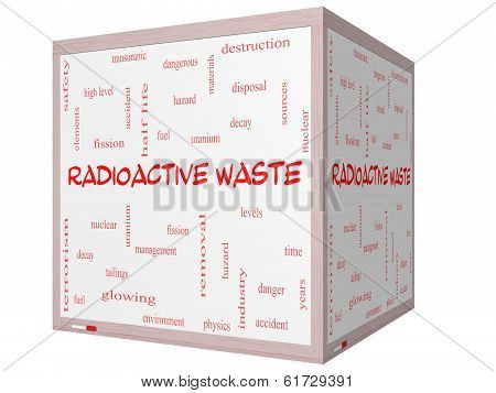 Radioactive Waste Word Cloud Concept On A 3D Cube Whiteboard