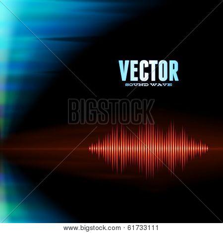 Orange shiny sound waveform with sharp peaks on polar lights background poster