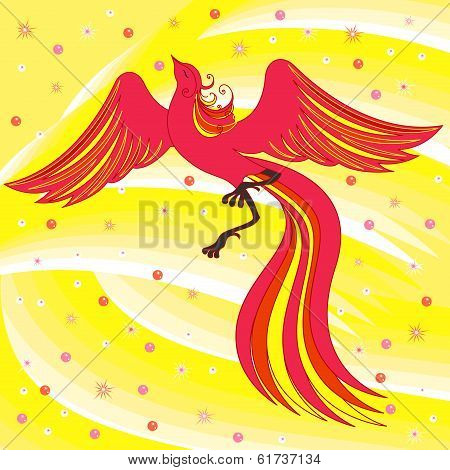 Graceful Firebird On Abstract Background