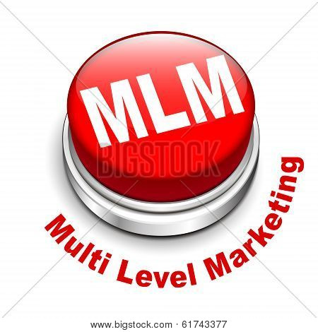 3d illustration of MLM ( Multi Level Marketing) button isolated white background poster