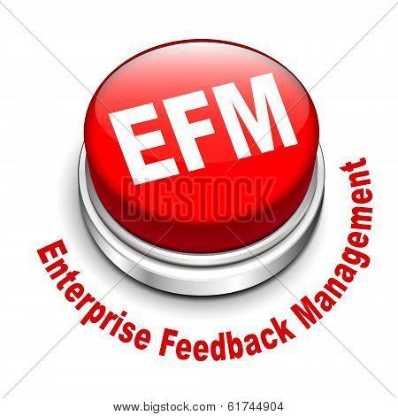 3d illustration of efm enterprise feedback management button isolated white background poster