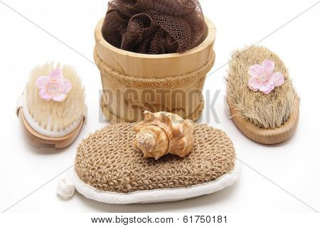 Massage sponge with mussel