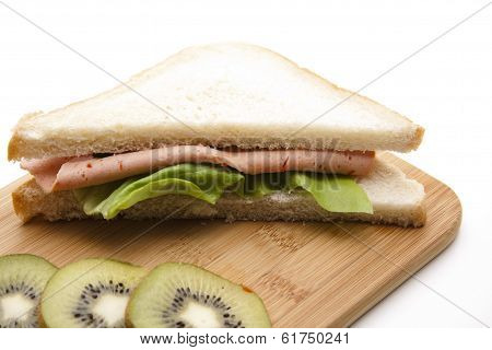 Fresh Cold Cuts from Pork with Salad Sheets in Toast Bread