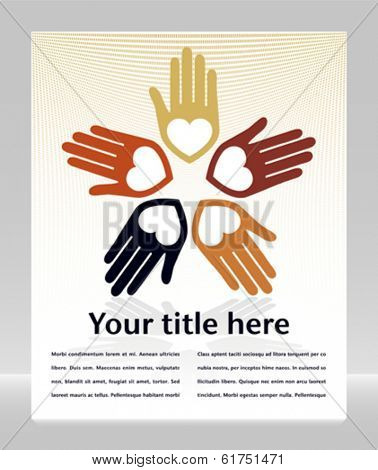 Loving circle of hands with copy space vector.