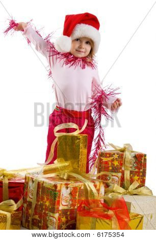 Cute Girl With A Christmas Gifts