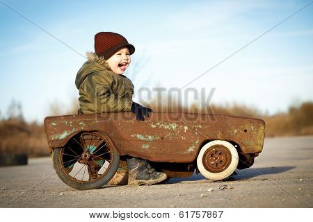 Happy Boy And His Toy Car