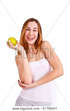 Attractive Young Woman With Apple Laughing