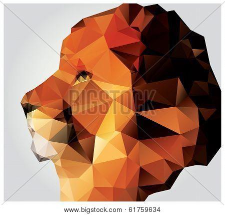 Geometric polygon lion head, profile, triangle pattern, vector illustration poster