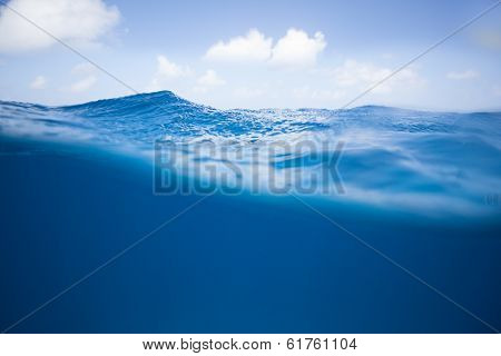 Half and Half image of bluw Ocean