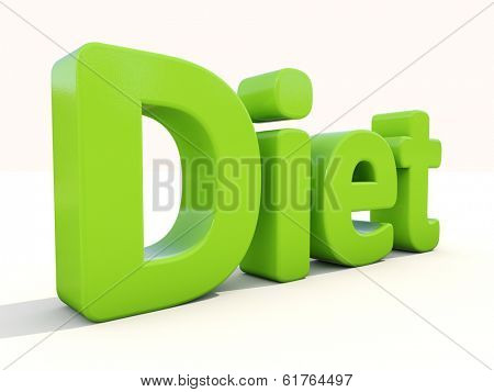Word diet icon on a white background. 3D illustration. poster