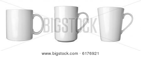 close up of coffee cups on white background . each one is in full cameras resolution poster