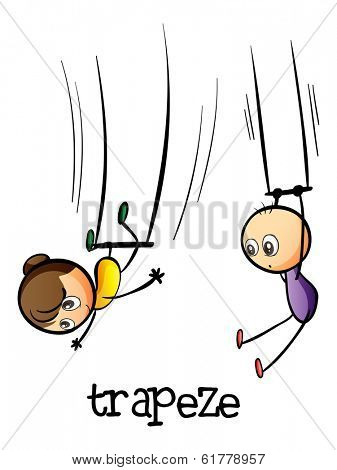 Illustration of a trapeze show on a white background