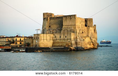 Beautiful panoramic view of castle dell Ovo in Naples city in Italy poster